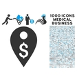 Dollar Map Marker Icon with 1000 Medical Business vector image vector image