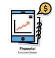 financial line color icon vector image
