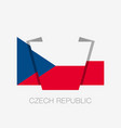 flag of czech republic flat icon waving flag with vector image