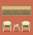 Flat Design Empty Seats Vintage Interior vector image vector image