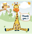 funny animals cartoon in jungle at summer vector image