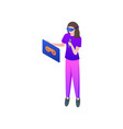 girl take game stick in virtual reality goggles vector image
