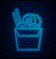 glowing neon line asian noodles in paper box vector image vector image