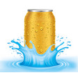 gold tin can with water drops standing in water vector image vector image