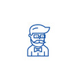 hipster beard man avatar line icon concept vector image