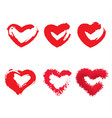 icon set of red heart painted hearts from grunge vector image vector image