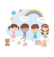 kids zone cute little boys and girls with bear vector image vector image