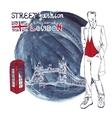 London Fashion dude menWatercolor ink splash vector image