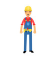 Male construction worker character in overalls