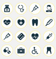 medicine icons set with medicine rack pellets vector image vector image