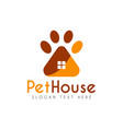pet paw house logo design template vector image vector image