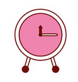 pink and scarlet red sections silhouette of clock vector image