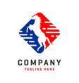 rectangular horse logo design template vector image vector image