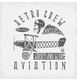 retro aviation grunge design with skullairplane vector image vector image