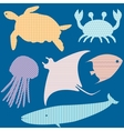 set 2 fish silhouettes with simple patterns vector image vector image
