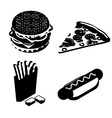 Set Fast food silhouette Big juicy hamburger and vector image vector image