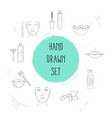 set of beauty icons line style symbols with face vector image