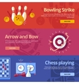 Set of flat design concepts for bowling strike vector image
