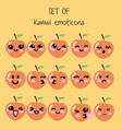 set of kawaii emoticons cute peach vector image vector image