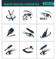 Set of modern icons Makeup mascara eyebrow vector image