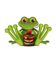 stock frog with cake vector image vector image
