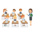 teacher with pupils at a lesson vector image vector image