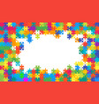 the colorful background puzzle frame of puzzles vector image vector image