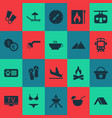 tourism icons set with shower flippers swimsuit vector image
