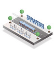 trolleybus station isometric banner template vector image vector image