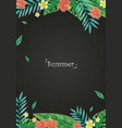 tropical leaves and flower border on blackboard vector image vector image