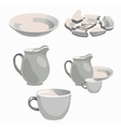 White porcelain kitchen utensils and broken plate vector image vector image
