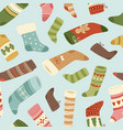 winter and christmas socks seamless pattern vector image