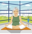 woman doing yoga exercises in lotus position vector image vector image