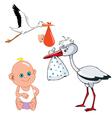 cartoon stork carries newborn baby vector image