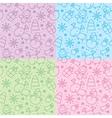 christmas hand drawn seamless patterns vector image
