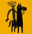 cowboy and horse vector image