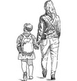 a young woman with her child walking down the vector image vector image