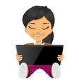 asian little girl using digital tablet vector image vector image