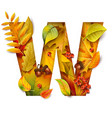 autumn stylized alphabet with foliage letter w vector image vector image