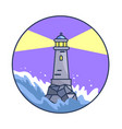 banner depicting lighthouse during night storm vector image vector image