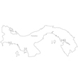 Black White Panama Outline Map vector image vector image