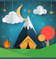 cartoon paper landscape tree mountain fire vector image vector image