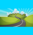 cartoon summer landscape city hill road vector image vector image