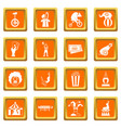 circus entertainment icons set orange vector image vector image