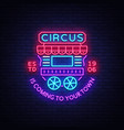 circus truck logo in neon style design template vector image vector image