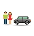 couple with car sedan design vector image