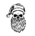 dead skull with christmas hat and little vector image vector image