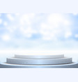 display podium against blurred winter background vector image vector image