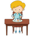 doodle boy eating breakfast vector image