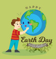 earth day happy boy hugging planet ecology vector image vector image